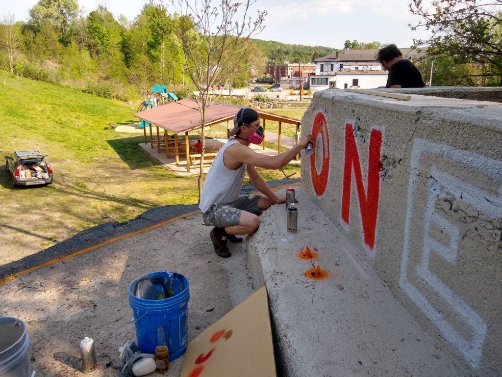 Carbondale mural painting in progress